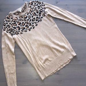 Leopard Cheetah Print Sweater Top M